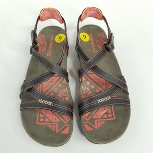 Merrell Sandspur Rose Leather Sandal Coral/Cocoa